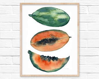 Papaya Watercolor Print by hippiehoppy