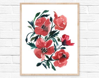 poppy art poppy painting poppy print poppies poppy wall art poppies art poppy poppy art print botanical art home decor red poppy hippiehoppy