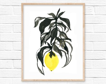 Lemon Watercolor Print Black and White Art