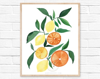 Botanical Fruit Watercolor Print