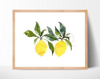 Lemons Watercolor Print Kitchen Art