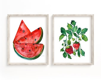 Strawberry and Watermelon Kitchen Art set of 2