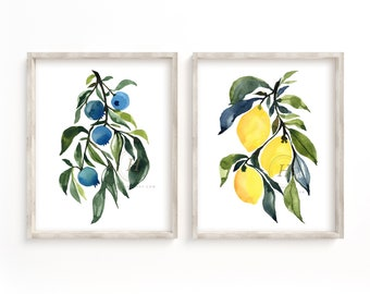 Fruit Watercolor Prints Set of 2