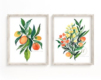 Oranges and Flowers Watercolor Prints Set of 2 by HippieHoppy