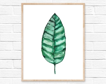 Watercolor Banana Leaf Painting Minimalist Leaves Print Exotic Tropical Plant Drawing Minimalist Art Botanical Room Wall Decor Watercolors