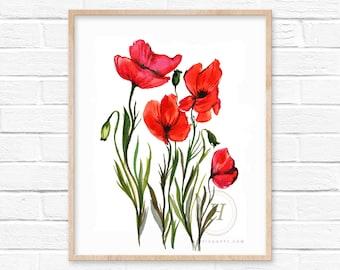 Poppy Watercolor Print by HippieHoppy