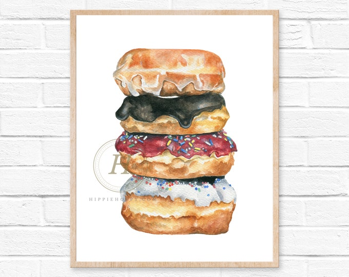 Featured listing image: Donut Wall Art, Food Art Print, Doughnut Print, Kitchen Decor, Foodie Art