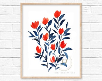 Flower Watercolor Print Floral Art by HippieHoppy