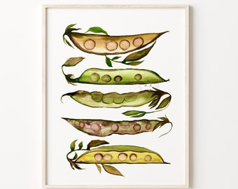 Vegetables, Peas, Kitchen Wall Art, Cooking Print, Food Painting, Restaurant Decor, Kitchen Decor, Watercolor Print, Veggies