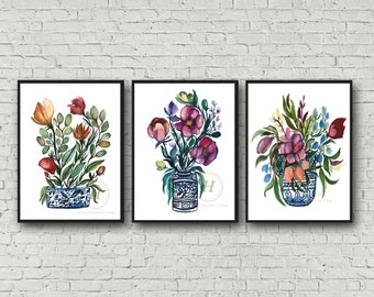 Flowers Watercolor Print set of 3 by HippieHoppy
