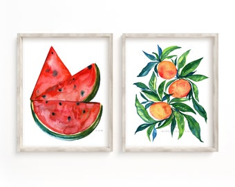 Watermelons and Oranges Watercolor Print Set