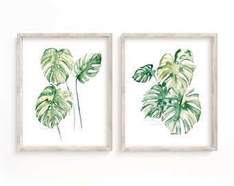 Tropical Leaf Print, Set Of 2 Wall Art, Monstera Leaf Print, Wall Art Decor