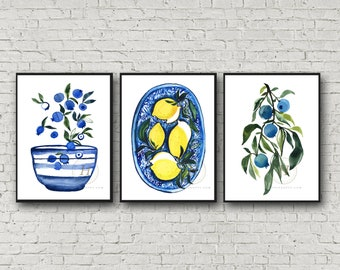 Large Blueberries and Lemons Watercolor Art Prints set of 3