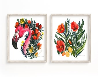 Flamingo and Flowers Watercolor Print Set of 2 by HippieHoppy