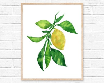 lemon watercolor lemon print lemon painting lemon lemon art kitchen decor watercolor painting lemons watercolor kitchen art kitchen wall art
