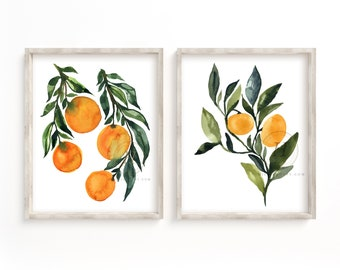 Citrus Watercolor Prints, Set of 2 by HippieHoppy