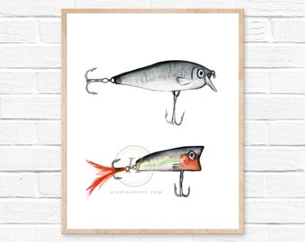 Fishing lure print, Watercolor lures, Home decor