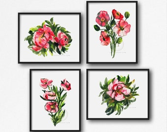 Pink Flowers, Watercolor Print, set of 4, Floral Art by HippieHoppy
