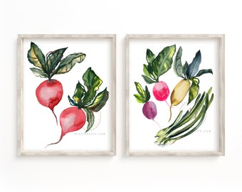 Radish and Onion Watercolor Art Prints set of 2