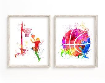 Abstract Basketball Watercolor Print Set of 2