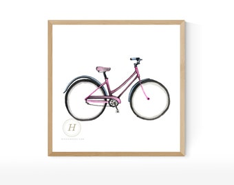 Bike print, Watercolor wall art