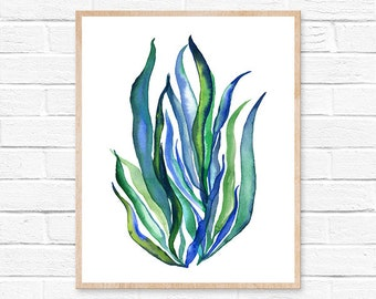 seaweed watercolor watercolor painting seaweed print seaweed watercolor print seaweed painting seaweed art coastal decor beach decor art