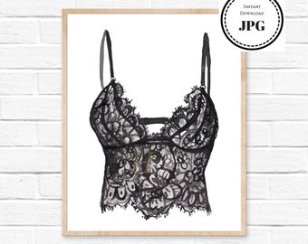 Lingerie Wall Art Fashion Print Black Lace Lingerie Fashion Wall Art Lingerie Poster Fashion Illustration Bedroom Art Lingerie Art Print