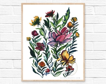 Large Flowers Watercolor Art Print by HippieHoppy