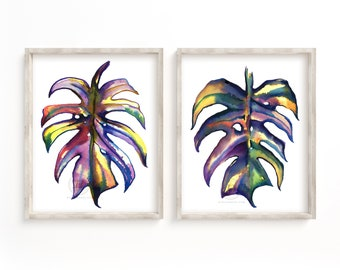 Monstera Print, Set Of 2 Prints, Tropical Leaf Print, Leaf Wall Art