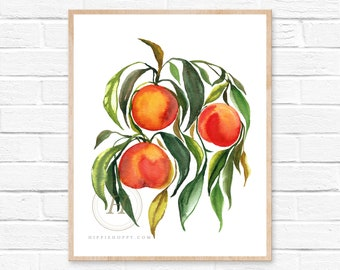 Large Peaches Prints, Watercolor Peach