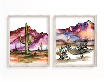 Desert Watercolor Prints Set of 2 Wall Art