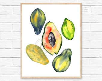 Papaya Watercolor Print