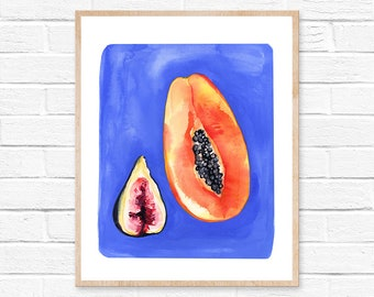 papaya watercolor fruit tropical fruit illustration art kitchen decor kitchen wall art painting tropical fig watercolor painting wall art