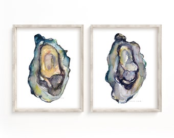Watercolor Oyster Print Set of 2