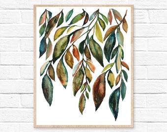 Leaves Print, Watercolor Painting