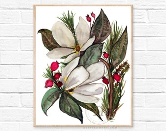 Christmas Magnolias Watercolor Print
