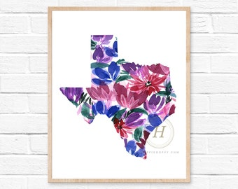 Texas Watercolor Print. State Illustration. Texas State Art Print. Watercolor Art Painting. Gift for Texas Lover. Shabby Chic Home Decor.