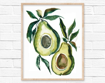 Avocado Art Print Kitchen Decor by HippieHoppy