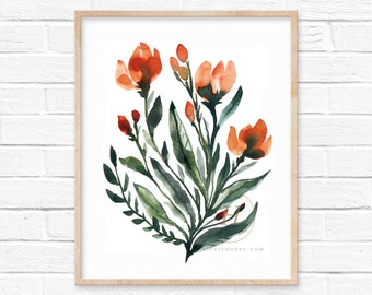 Large Flower Watercolor Print