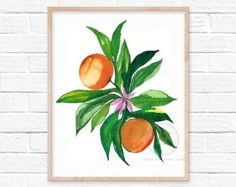 Oranges Fruit Watercolor Print Kitchen Decor