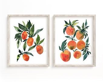 Orange and Kumquat Watercolor Print Set of 2