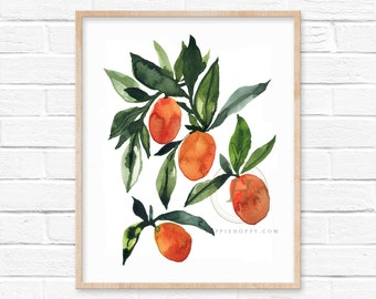 Kumquat Watercolor Print Kitchen Wall Art