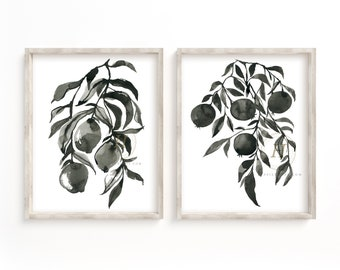 Black Watercolor Prints set of 2 Lemon Art, Pomegranate Art