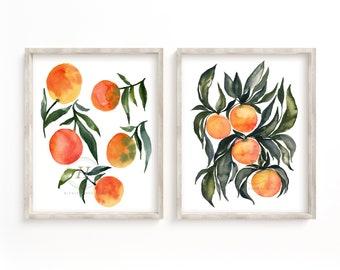 Citrus Print Set, Botanical, Citrus Prints, Fruit Art, Wall Art, Kitchen Art, Fruit Prints, Print Sets