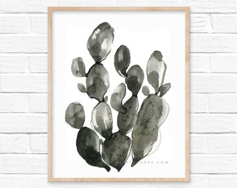 Cactus Watercolor Print Black and White Art