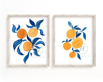 Oranges Watercolor Art Prints Set of 2