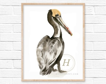 Large Pelican Watercolor Art Print