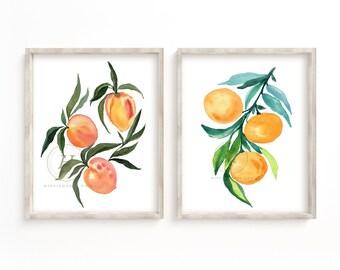 Peaches and Oranges Print Set of 2
