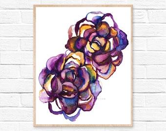 Succulent, Watercolor Print, Wall Art by HippieHoppy