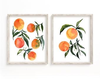Oranges Print Set of 2 Watercolor Fruit Art